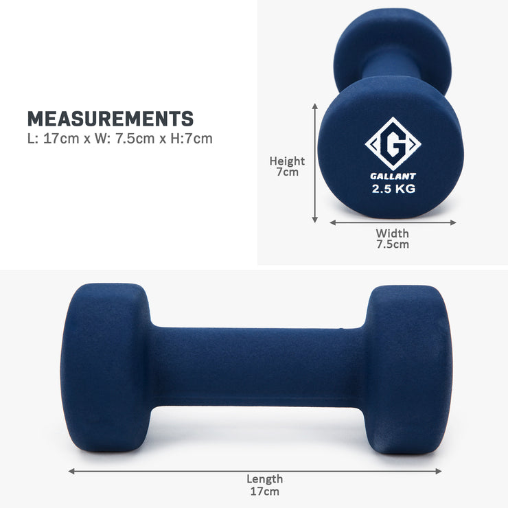 Dark blue 2.5kg hand weight measurement graphic