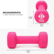 Pink 1.5kg hand weight measurement graphic