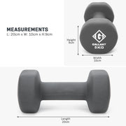 Grey 5 kg hand weight measurement graphic