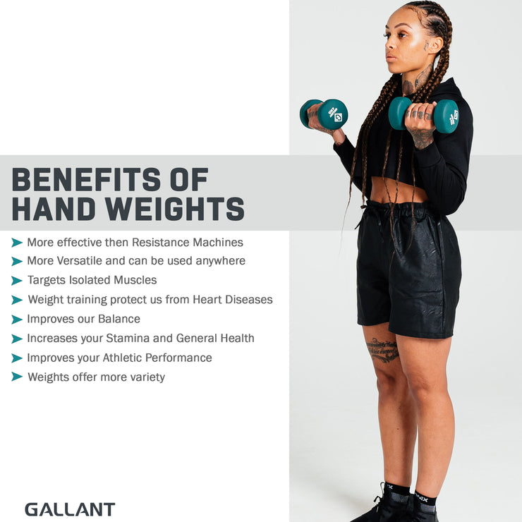 Female model working out using the hand weights
