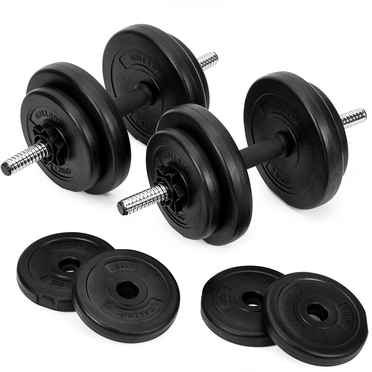 Two dumbbell hand weights sets, four 1kg black weight plates.