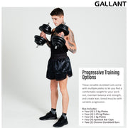 Male model lifting two handheld dumbbell weights, text explaining progressive training options, Black Gallant Logo top right hand corner.