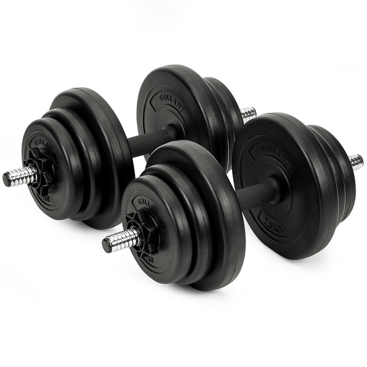 Two Dumbbell hand weight set, black weight plates, chrome dumbbell bar