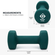 Dark green 4 kg hand weight measurement graphic