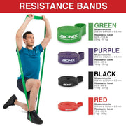 Male model demonstrating the Resistance band pull up set, Red black, purple, green