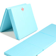 Light blue tri-folding mat open and folded