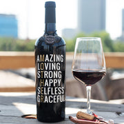 Mother's Day Words Etched Wine Bottle