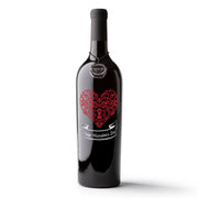 Valentine's Day Heart Etched Wine Bottle