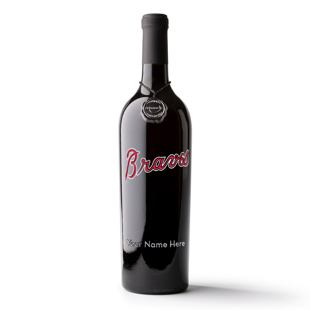 Atlanta Braves™ Custom Name Etched Wine Bottle