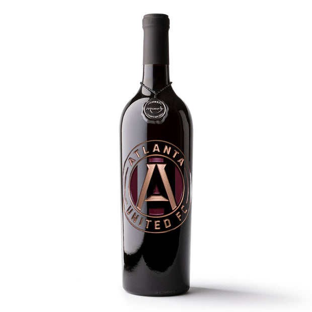 Atlanta United Logo Etched Wine