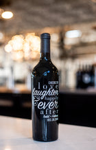 Load image into Gallery viewer, Wedding Love Laughter Custom Etched Wine Bottle