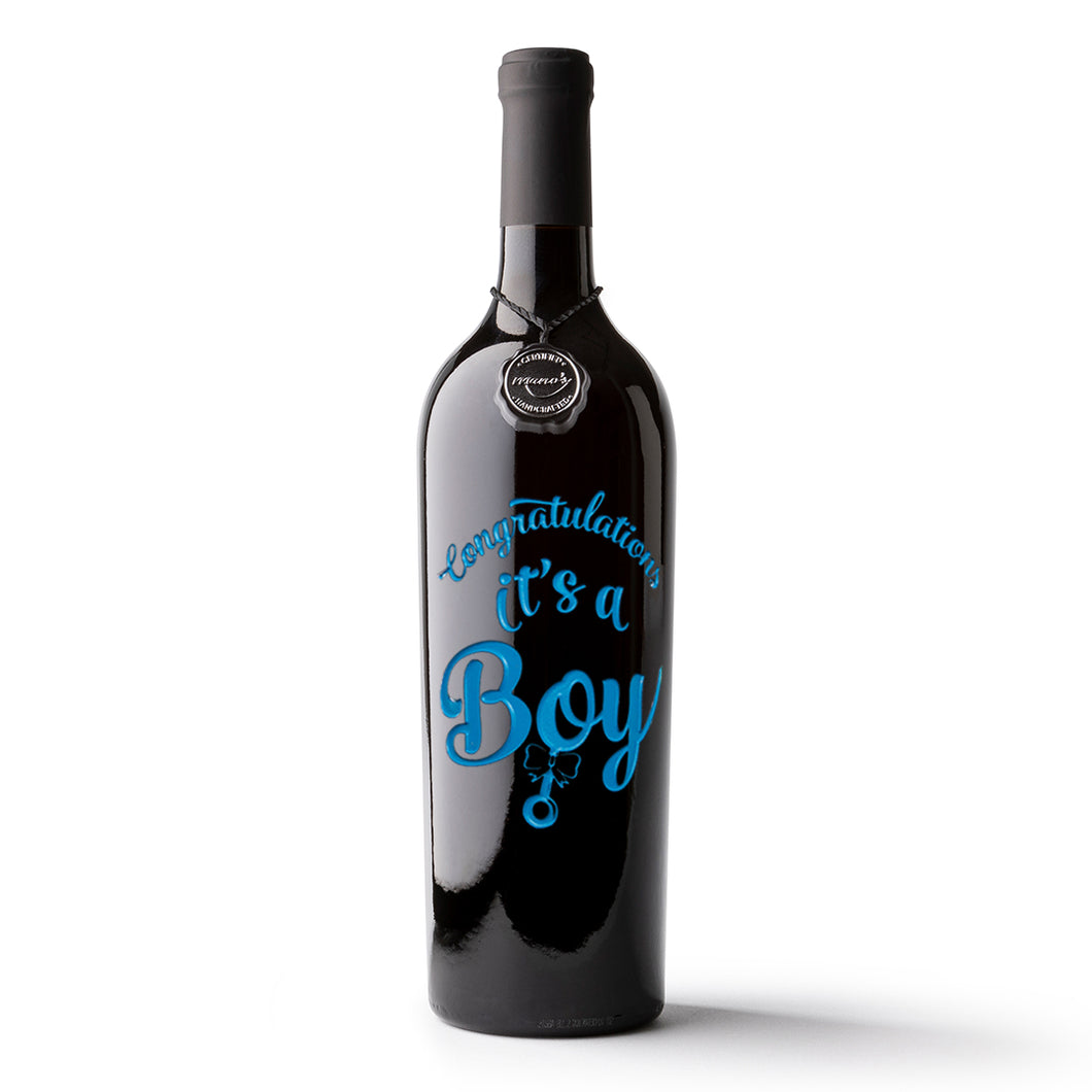 Congrats It's A Boy Etched Wine Bottle