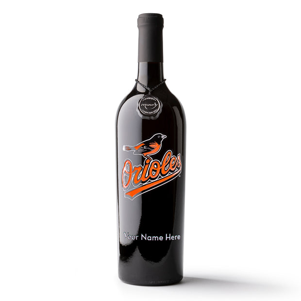 Baltimore Orioles™ Custom Name Etched Wine Bottle