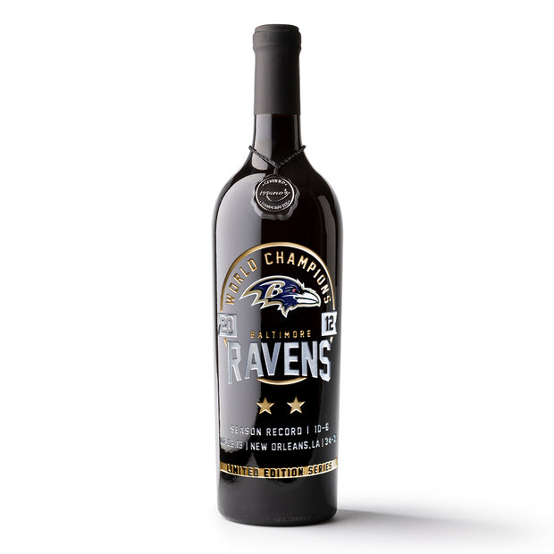 Baltimore Ravens 2012 Championship Season Etched Wine