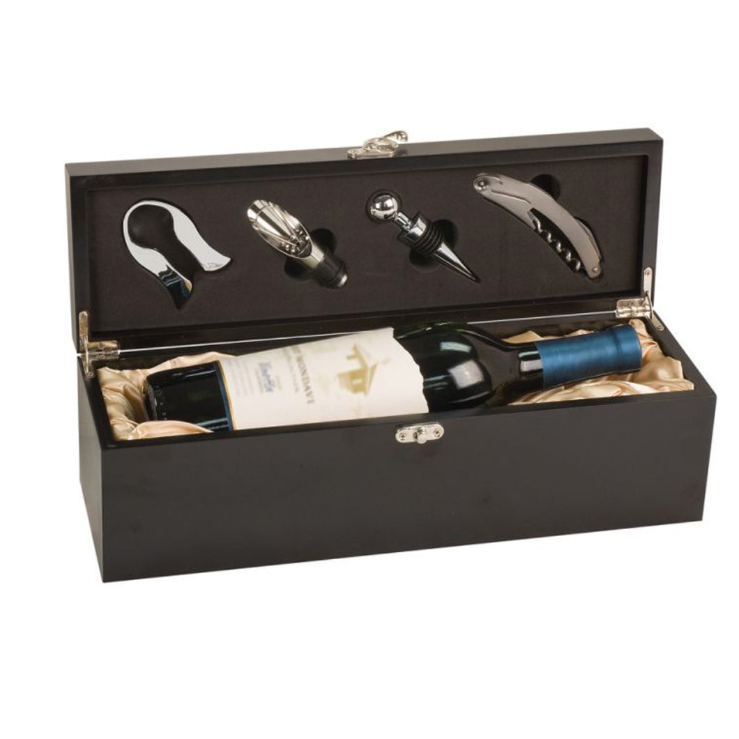 Black Wine Box with Accessories