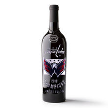 Load image into Gallery viewer, Washington Capitals 2018 Champions Logos Etched Wine