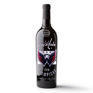 Washington Capitals 2018 Champions Logos Etched Wine