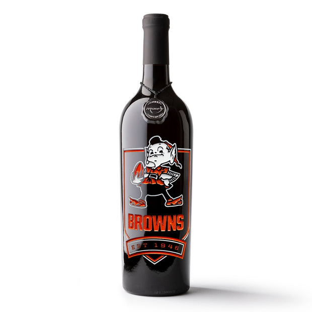 Cleveland Browns Shield Etched Wine