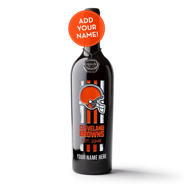 Cleveland Browns Custom Name Etched Wine