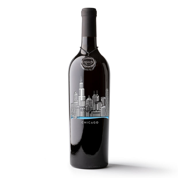 Chicago Skyline Etched Wine Bottle