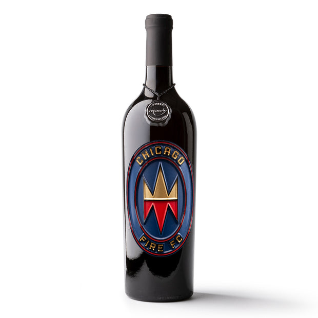 Chicago Fire Logo Etched Wine