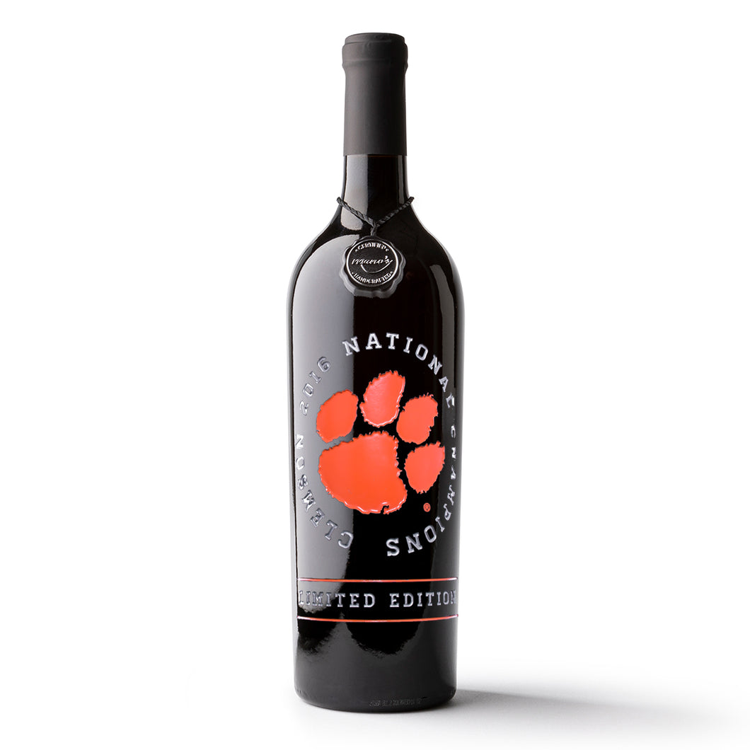 Clemson University National 2016 Champions Etched Wine Bottle