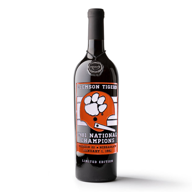 Clemson 1981 National Champions Banner Etched Wine