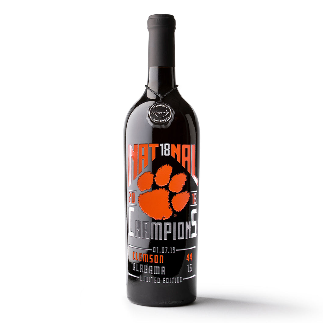 Clemson University 2018 Nat18nal Champions Etched Wine