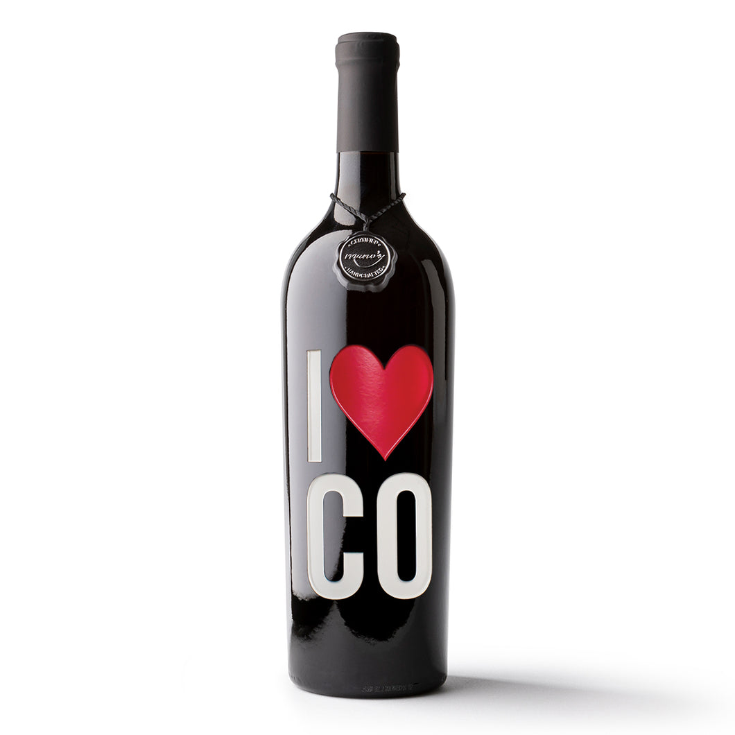 I Heart Colorado Etched Wine Bottle