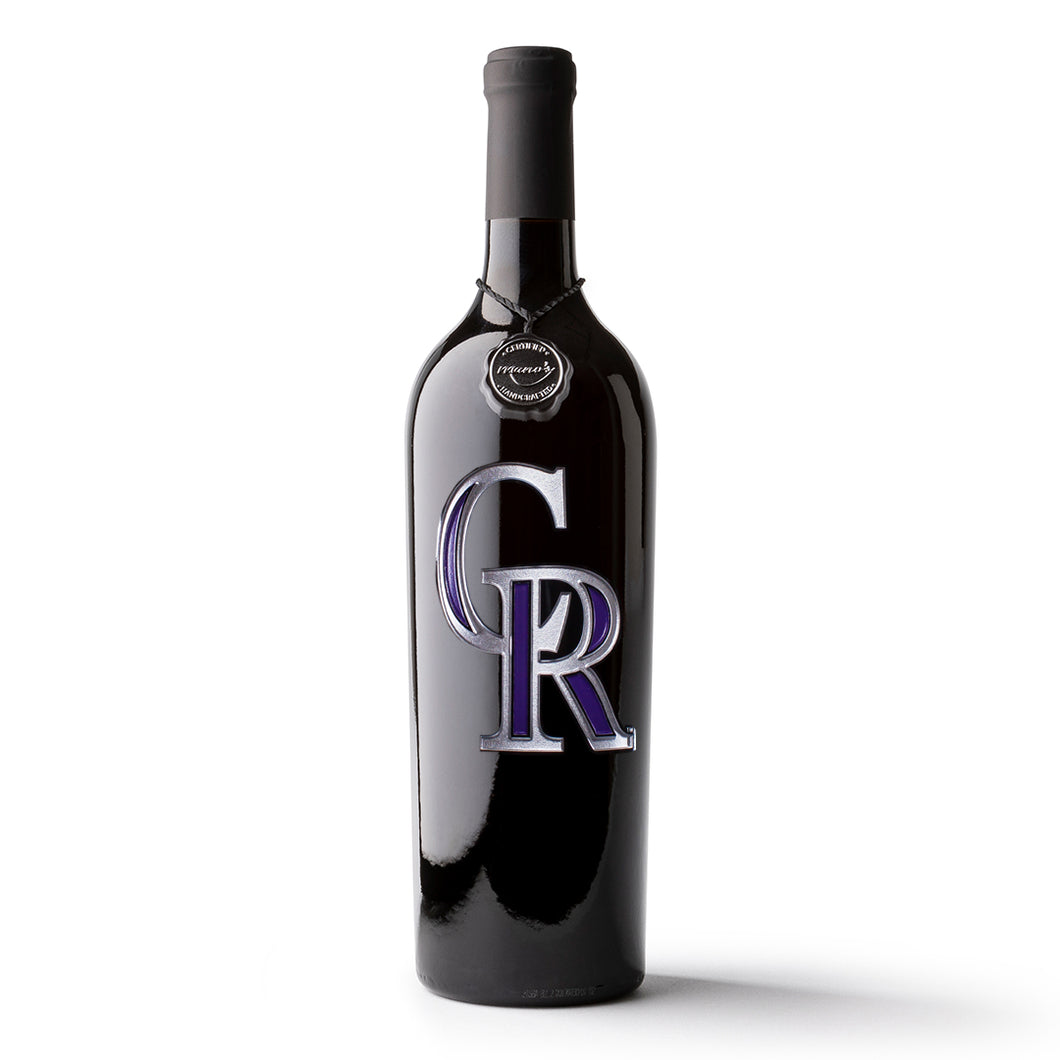 Colorado Rockies™ Etched Wine Bottle