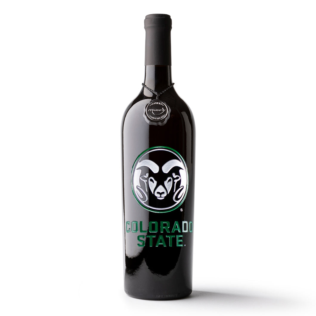 Colorado State University Etched Wine Bottle