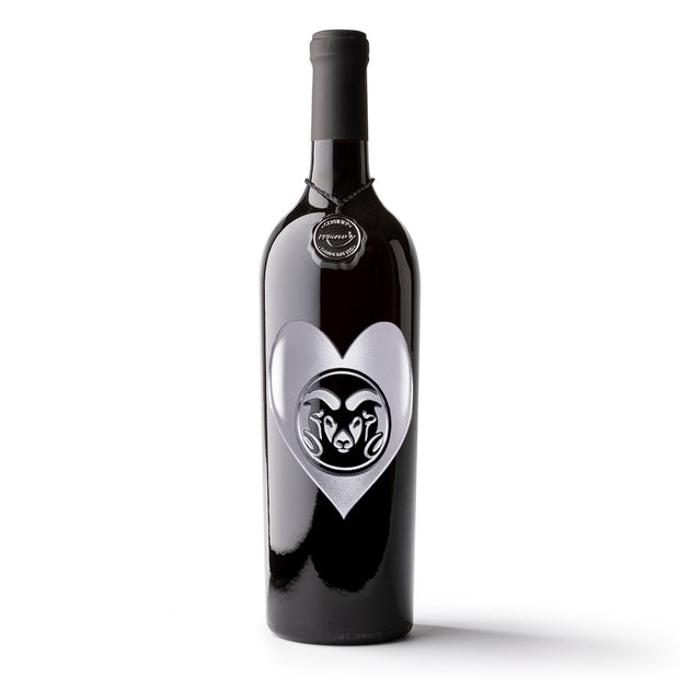 Colorado State University Heart Etched Wine Bottle