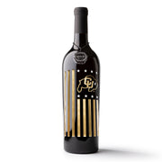 University of Colorado Flag Etched Wine Bottle