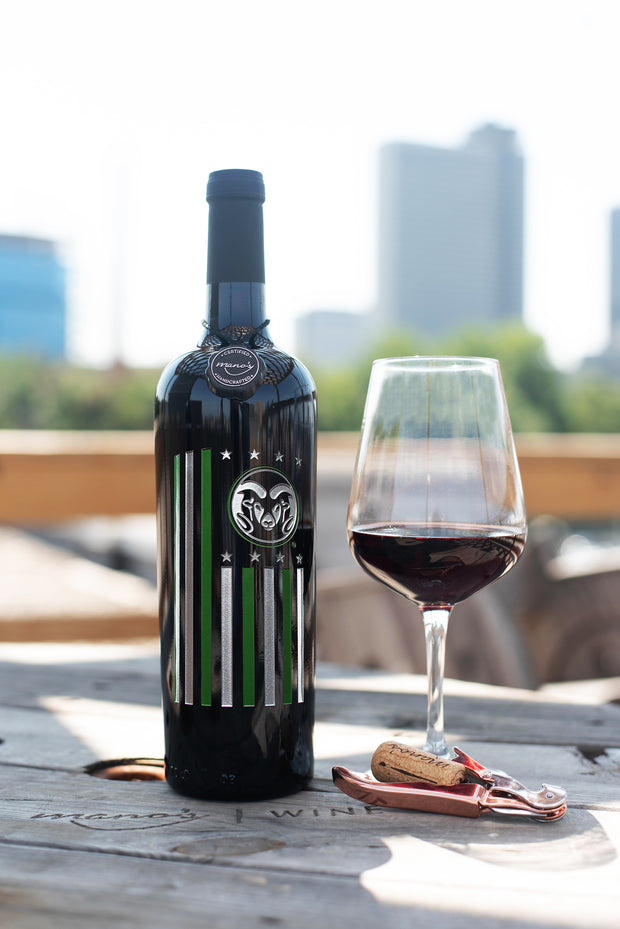 Colorado State University Flag Etched Wine Bottle