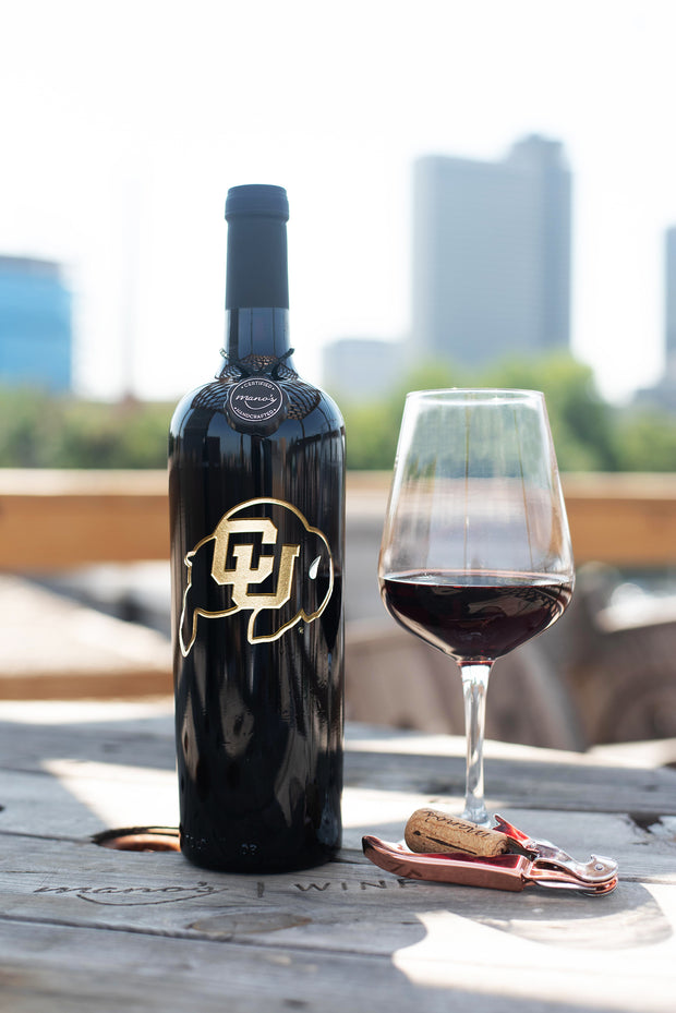 University of Colorado Etched Wine Bottle
