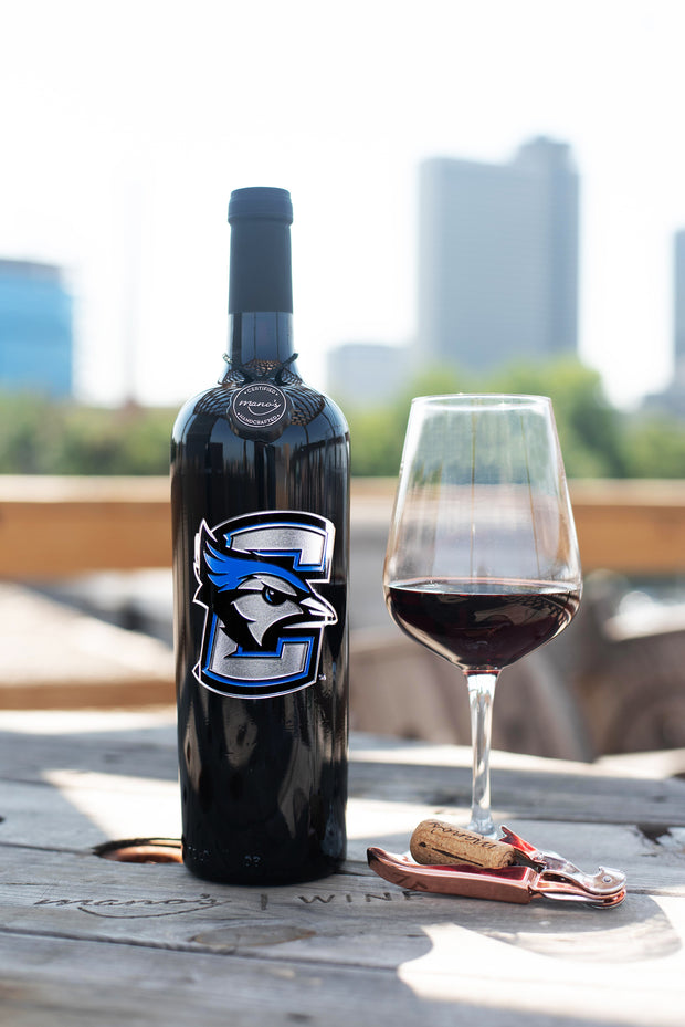 Creighton University Logo Etched Wine Bottle