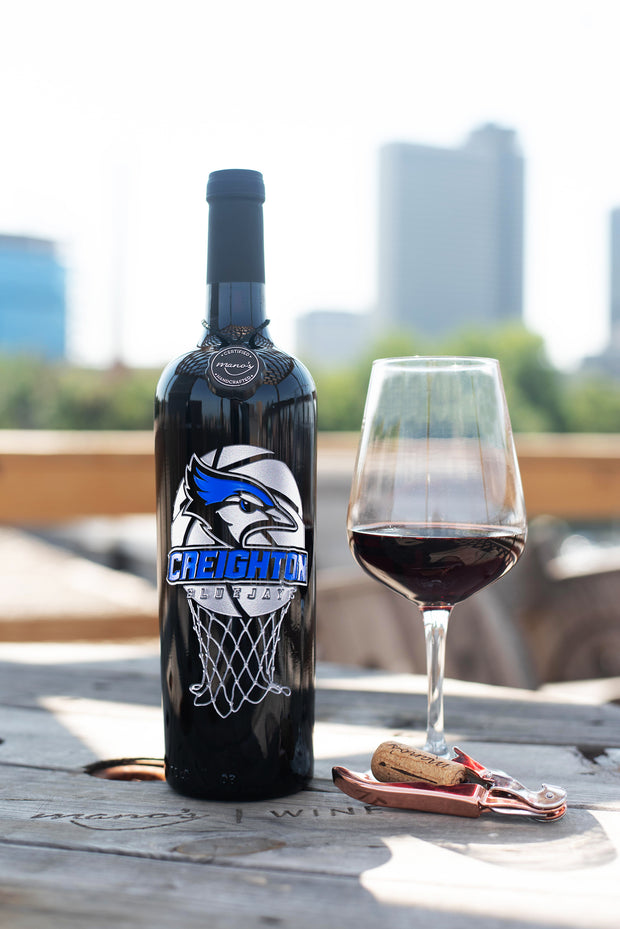 Creighton University Basketball Etched Wine Bottle
