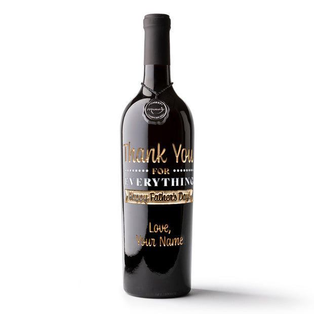 Thank You Father's Day Custom Etched Wine