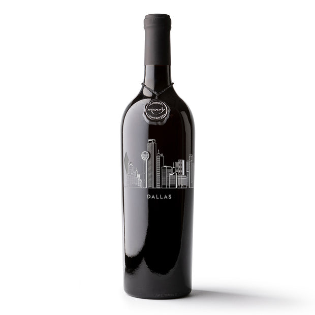 Dallas Skyline Etched Wine Bottle