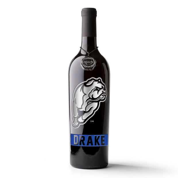 Drake University Logo Etched Wine