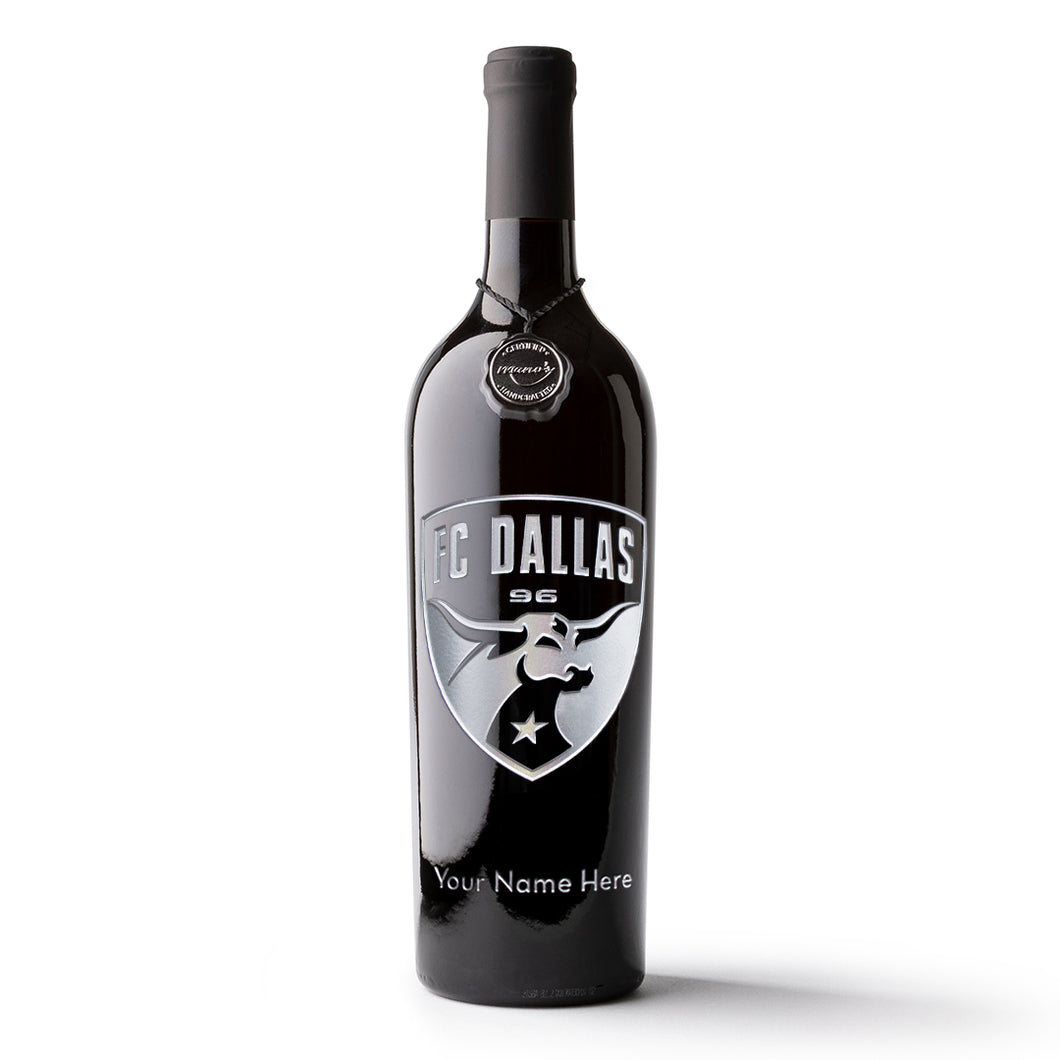 FC Dallas Logo Custom Name Etched Wine