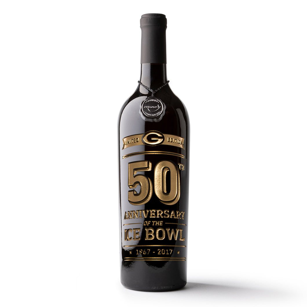 Green Bay Packers Gold Commemorative Design Etched Wine