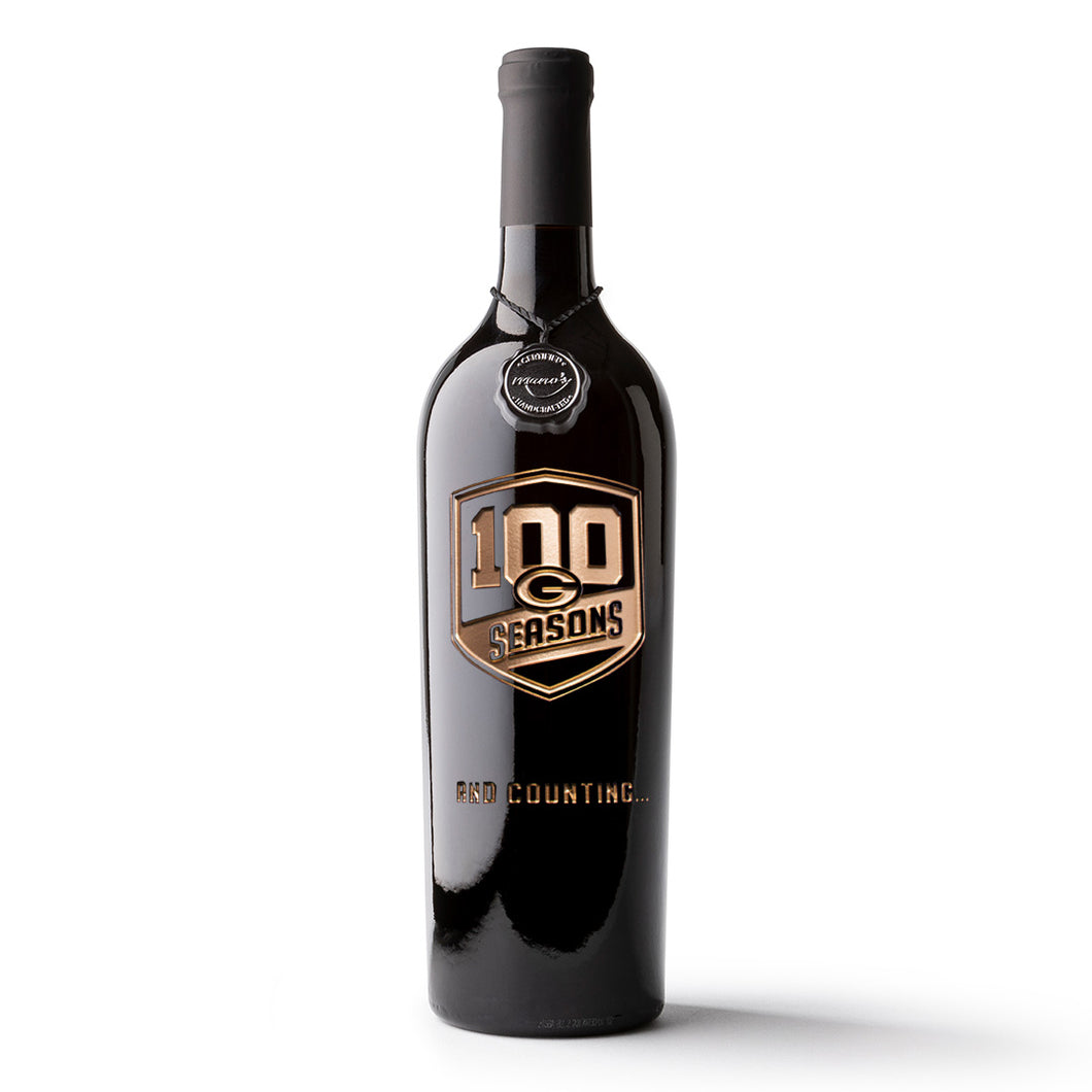 Green Bay Packers 100 Seasons Logo Etched Wine