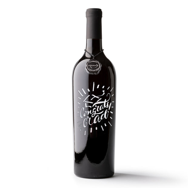 Congrats Grad Etched Wine Bottle