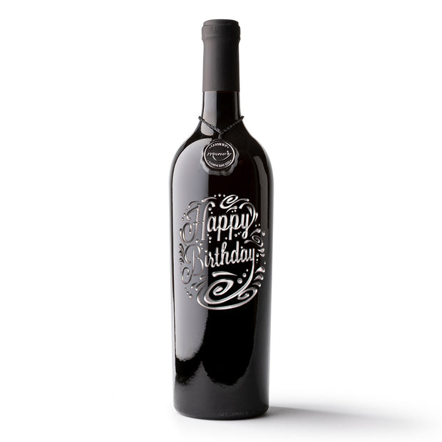 Birthday Circle Etched Wine Bottle