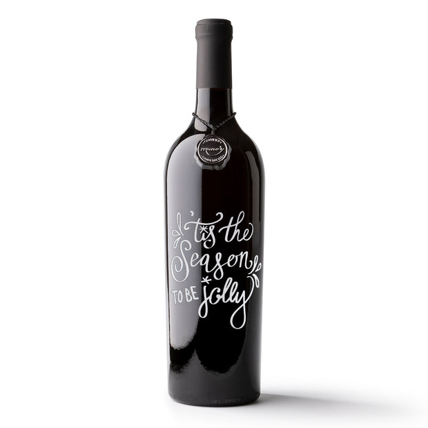 Tis The Season To Be Jolly Etched Wine
