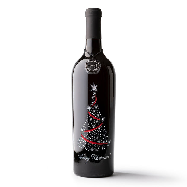 Merry Christmas Tree Etched Wine Bottle