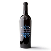 Happy Holidays Diamond Snowflake Etched Wine Bottle