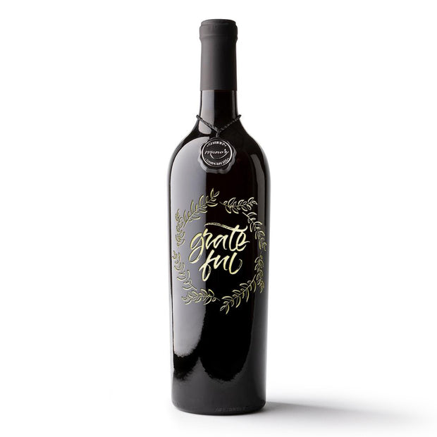 Grateful Etched Wine Bottle