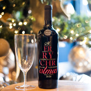 Merry Christmas 2020 Etched Wine Bottle
